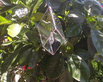 Beveled glass and crystal suncatcher