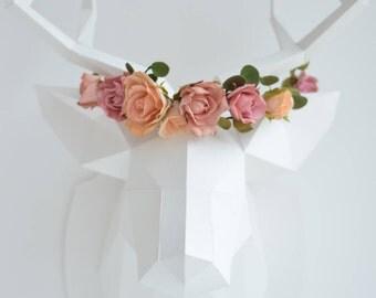 Bridal headpiece, Boho woodland hair wreath, Floral circlet, flower crown, Woodland wedding head piece, Rustic wreath, Dusty rose