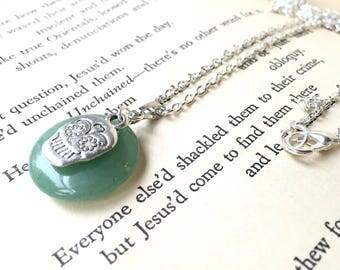 Mint Green Adventurine Necklace, Silver Sugar Skull Necklace, Green Crystal Necklace, Mint Green Pendant, Mint Necklace, Sugar Skull Jewelry