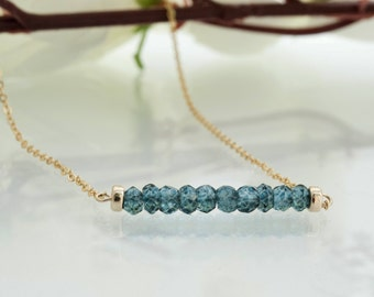 Simple Necklace Dainty Necklace Blue Topaz Necklace Blue Diamond Necklace Simple Short Necklace Gemstone Bar Necklace Simple Beaded Necklace