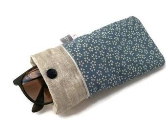 Etui à lunettes fait main, pochette lunettes tissu japonais bleu saku, cerisier, passepoil, handmade, accessoire sac, cadeau pour femme