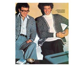 Diamond Pattern Cardigan Mens Knitting Pattern - Two Color Designs
