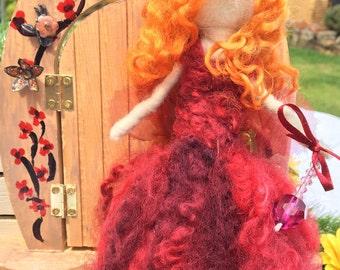 Handmade Red Needle Felted Wool Fairy