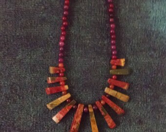 necklace, stone beads,southwest,stone pendents,graduated in length pendents,garnet beads, picasso beads.