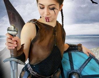 Viking cosplay costume: Warrior tunic, armbands, barrette, bag, belt - Norse viking, medieval, Warrior inspired.