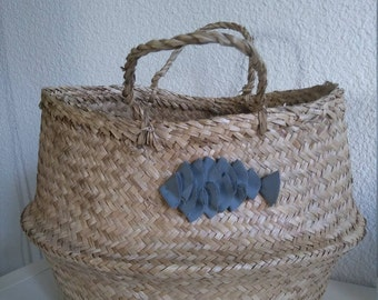 Large Thai basket gray cotton fish for decoration and storage the hearty
