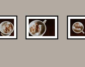 Set of 3,  Coffee Mug Photography Digital Print, Coffee Photography Art, Coffee Office Decor