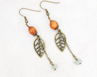 Bronze leaf - Wood - Green Aventurine bead earrings