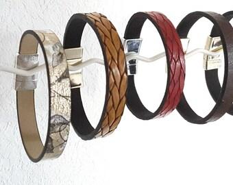 Magnetic closure leather Cuff Bracelet