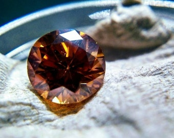 1.3ct Molten Orange Moissanite | VVS | 7mm |-- USA+Video