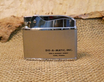 Flat Advertising Lighter, Die-A-Matic, Inc., York Penna., Vintage, Collectible, Gift