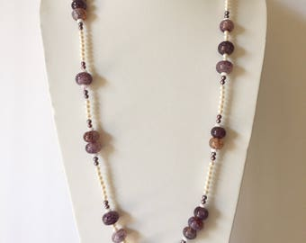 """34"""" Opera station necklace. Real, genuine cultured Freshwater Pearls & Agate. White Lilac-Purple Black. Bold, Striking, Statement Jewelry"""