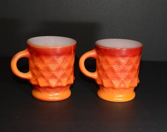 Set of 2, Vintage, FIRE KING, Kimberly, Orange, Red, C handle, Coffee mugs, Tea Cups, Milk glass, in great condition, Anchor Hocking