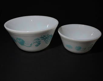 Set of 2, FEDERAL GLASS, Turquoise on White, Fruit fare, Mixing Bowls, Serving Bowls, Milk Glass, Vintage, Nesting Bowls, 1950s