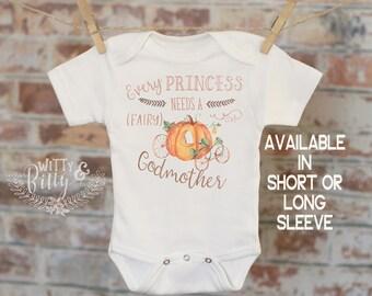 Every Princess Needs A Fairy Godmother Pumpkin Coach Onesie®, Cute Onesie, Pregnancy Reveal, Boho Onesie, Funny Onesie - 282E