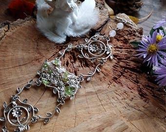 Unique - Bracelet en Quartz rose et péridot - Tissées avec du fil de cuivre plaqué argent -par Angel'S SignS