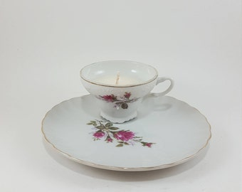 Eco Soy Candle in Vintage Teacup and Matching Dessert Saucer-Rose Pattern-Unscented