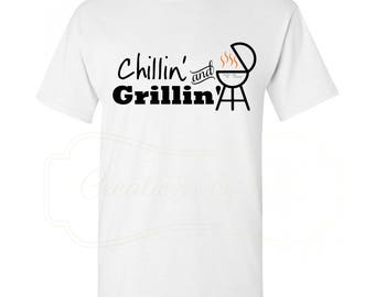 Chillin and Grillin Men's Crew Neck T-Shirt