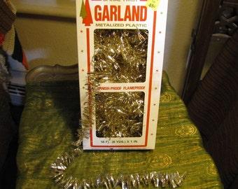 Vintage Gold Spiral Twist Tree Garland 18 ft w Original Box circa 1960s S. S. Kresge Company