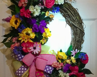 Springtime wreath, multicolor wreath, grapevine wreath, floral wreath