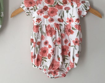 poppy Floral Peter Pan Collar Romper