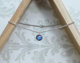 Choker - silver  pendant - delicate - round - purple - goddess - necklace - mountainmommamaker - celestial - galaxy