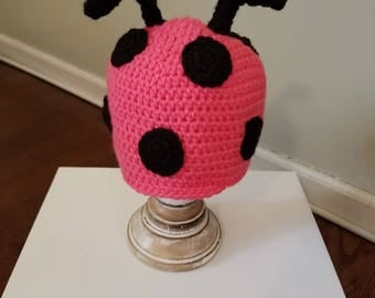"Pink Ladybug Hat ""Lu-Lu""/Crochet Animal Hats/Crochet Ladybug Hat/Crochet Baby Hats/Winter Hats and Beanies/READY TO SHIP"