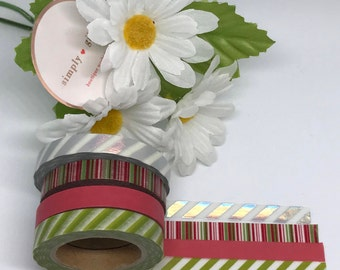 "Simply Gilded Washi, Stripes, Limited samples, 24"" samples"