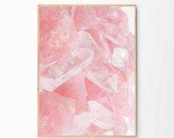Pink Quartz Print   Pink Quartz Poster   Crystal Wall art   Crystal Poster   Crystal Print   Rose Quartz   Pink Marble Print   Pink Marble