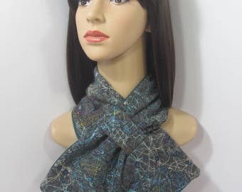 Grey scarf with multicoloured  swirling and floral patterns, handmade and lined.