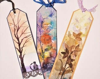 Bookmark Art/ Handpainted Bookmarks/ Watercolor Bookmarks/ Bookmarks Designs/ Bookmark Set/ Mini Gift/ Watercolour Gift/ Gift for Friends