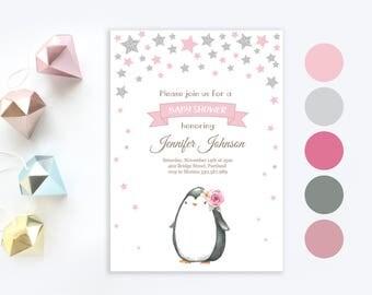 Penguin Baby Shower Invitation | Cute Little Penguin baby shower | Twinkle twinkle little star | Baby girl shower printable invitation