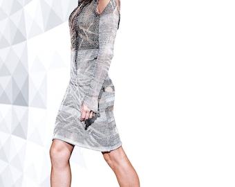 Tie-die silver midi dress MOON ROVER -153