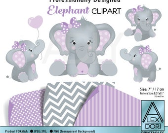 Cute Elephant Clip art, Baby Girl Purple and gray peanut clip art, png file. Nursery, Baby Shower,birthday, instant download commercial