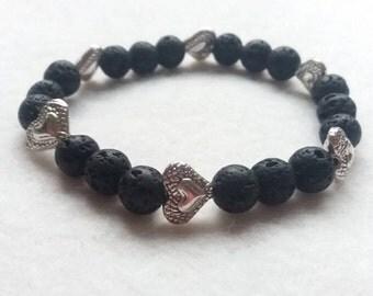 Essential Oil Diffuser Bracelet, Lava Stone Bracelet and Tibetan Silver Heart Stretch Bracelet ,