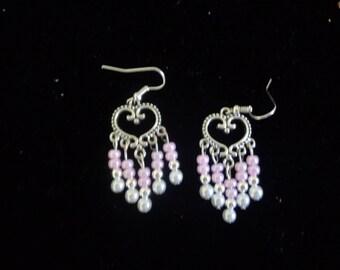 Pink bead and heart chandelier earrings