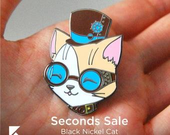 SECONDS SALE Steam Punk Cat Hard Enamel Pin Cute Black Nickel Animal Gear Accessory