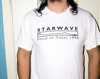 90s Starwave Black and White Vintage Distressed Tee T Shirt