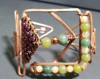 """Creative Copper Cuff Bracelet with Jade and Burgandy Accents """"Arro Line Series"""" Statement Cuff One Of A Kind"""