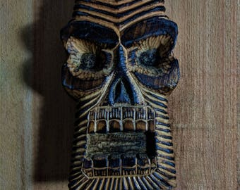 Tiki Skull-Hand-carved Basswood Relief