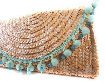 Light Teal Pom Pom Straw Clutch, Faceted Jade Blue Natural Gemstones/ Woven Straw Purse/ Hand Bag
