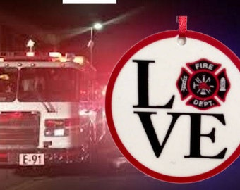 I Love my Fire Fighter Personalized Porcelain (Ceramic) Ornament Double sided