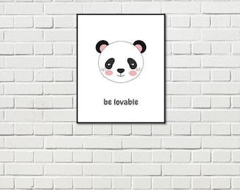 Nursery art; nursery print; instant download; panda; kids wall art