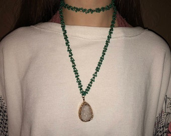 Beaded Wrap Necklace w Large Crystal Charm