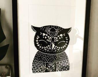 Olive owl lino print