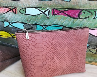 Pink Leather pouch. Leather Makeup bag. Leather wallet.