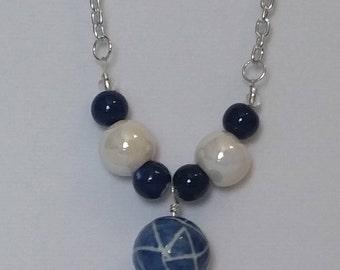 Geo blue ball pendant