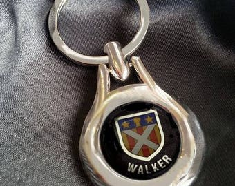 WALKER  Chrome Key Ring Fob Keyring Scottish Irish Clan Gift Idea