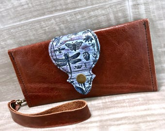 Leather Long Wallet fits Passport/ Phone in Chestnut Brown with Wrist Strap & Zipper Pocket / Dragonfly,* SALE * Coupon Codes