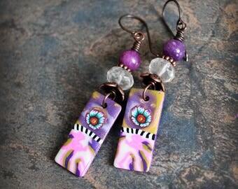 Purple Pink. Colorful Artisan made earrings. Boho style dangle earrings. Handmade beads, antiqued solid copper. Pink purple teal.